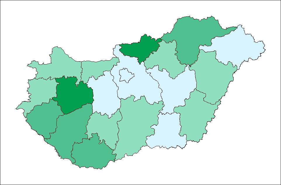 A vaddisznók által okozott vadkár országos eloszlása